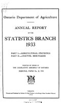 Annual Report of the Statistics Branch, Ontario Department of Agriculture