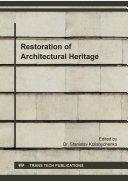 Restoration of Architectural Heritage Pdf/ePub eBook