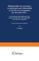 Pdf Bibliographie der gesamten Gynaekologie und Geburtshilfe sowie deren Grenzgebiete für das Jahr 1913 Telecharger