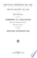 Agriculture Appropriation Bill  1919