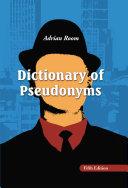 Dictionary of Pseudonyms [Pdf/ePub] eBook