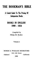 The Bookman S Bible Books In English 1900 1924