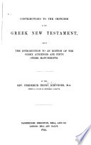 Contributions to the Criticism of the Greek New Testament