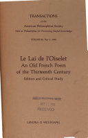 Lai de L'Oiselet: an Old French Poem of the Thirteenth Century