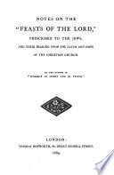 Notes on the  Feasts of the Lord   Prescribed to the Jews  and Their Bearing Upon the Faith and Hope of the Christian Church