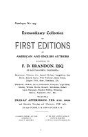 Extraordinary Collection of First Editions of American and English Authors Belonging to F D  Brandon