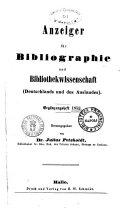 Anzeiger fur Bibliographie und Bibliothekwissenschaft