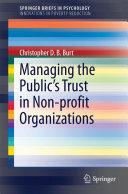 Managing the Public's Trust in Non-profit Organizations Pdf/ePub eBook