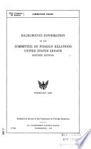 Background Information on the Committee on Foreign Relations, United States Senate