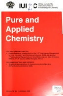 Chimie Pure Et Appliqu  e Book