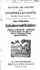 Histoire des amours de Lysandre & de Caliste