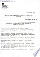 Transportation Acquisition Manual Notice  TAM Note 95 02  July 16  1995