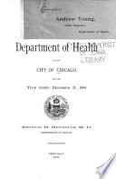 Report of the Department of Health of the City of Chicago for the Year ...
