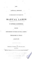 First Annual Report of the Society for Promoting Manual Labor in Literary Institutions