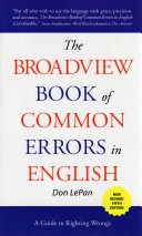 The Broadview Book of Common Errors in English - Fifth Edition