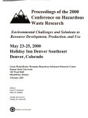 Proceedings of the Conference on Hazardous Waste Research