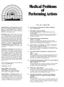 Medical Problems of Performing Artists