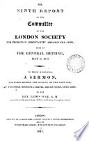 The Ninth Report of the Committee of the London Society for Promoting Christianity Amongst the Jews; Read at the General Meeting, May 9, 1817