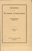 Pdf Proceedings of The Academy of Natural Sciences (Vol. CVI, 1954) Telecharger