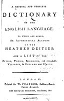 A General and Complete Dictionary of the English Language