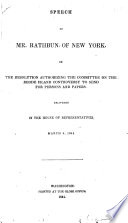 Speech on the Resolution Authorizing the Committee on the Rhode Island Controversy to Send for Persons and Papers