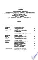Architectural Design, Architectural Theory, History, and Criticism, Human Behavior, Professional Practice, Special Topics, Urban Design Theory and History
