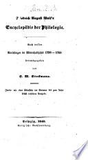 Friedrich August Wolf's encyclopädie der philologie