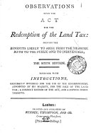 Pdf Observations Upon the Act for the Redemption of the Land Tax