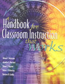 A Handbook for Classroom Instruction that Works Book