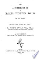 The Architecture Of Marcus Vitruvius Pollio Tr By J Gwilt
