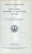Index to Publications of the United States Department of Agriculture