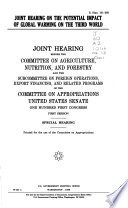 Joint Hearing on the Potential Impact of Global Warming on the Third World
