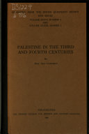Palestine in the Third and Fourth Centuries