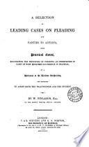 A Selection of Leading Cases on Pleading and Parties to Actions