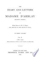 The Diary And Letters Of Madame D Arblay Frances Burney 1787 1792