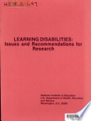Learning Disabilities  Issues and Recommendations for Research  1974