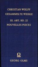Nouvelles Pieces Sur Les Erreurs Pretendues de la Philosophie de Mons. Wolf