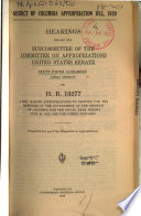 District Of Columbia Appropriation Bill 1920 Hearings Before 65 3 On H R 13277