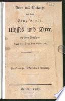 Arien und Gesänge aus dem Singspiele: Ulysses und Circe0
