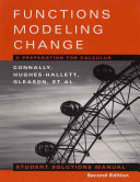 Student Solutions Manual to accompany Functions Modeling Change  2nd Edition Book