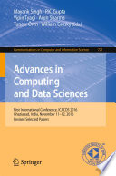 Advances in Computing and Data Sciences