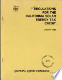 Regulations for the California Solar Energy Tax Credit