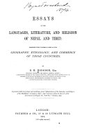 Essays on the Languages  Literature  and Religion of Nep  l and Tibet