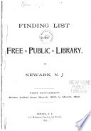 Finding List of the Free Public Library of Newark  N J  Book PDF