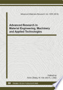 Advanced Research in Material Engineering  Machinery and Applied Technologies Book