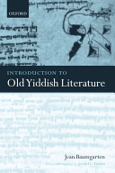 Read Online Introduction to Old Yiddish Literature For Free