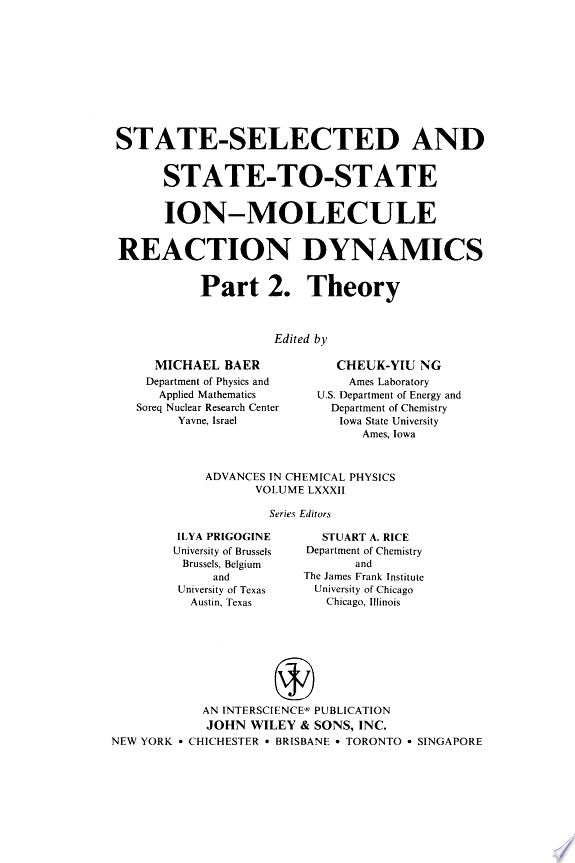 Advances in Chemical Physics, State