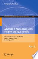 Advances In Applied Economics Business And Development Book PDF