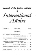 Journal Of The Indian Institute Of International Affairs