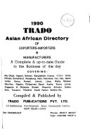 Trado Asian African Directory of Exporters  Importers  and Manufacturers
